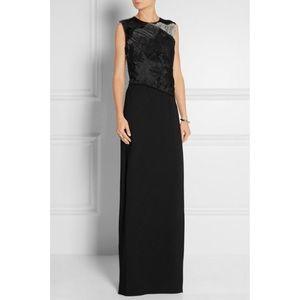 NEW 3.1 Phillip Lim Black Organza Silk-Crepe Gown